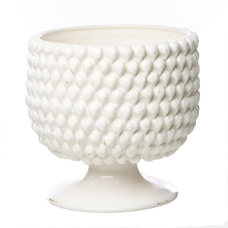 Vinci Pine Cone White Ceramic Planter, Large