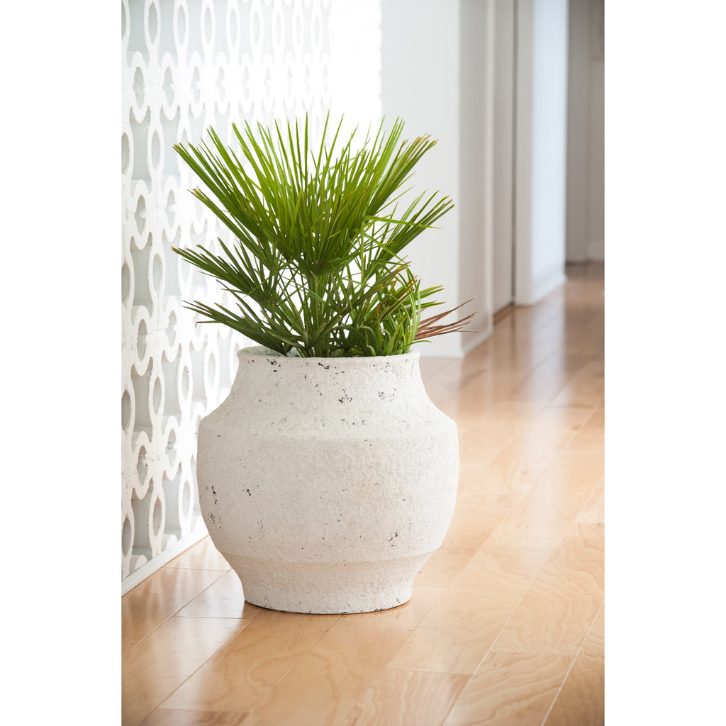 717813 Abigails Wholesale Home Décor Ceramics and Terra Cotta Planters White Washed Finish Ceramic Pot Small