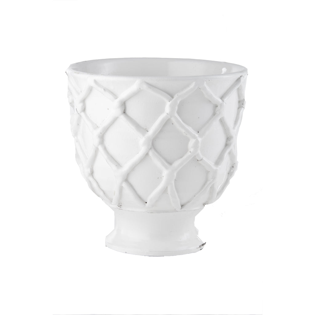 Vinci Criss Cross White Ceramic Planter, Small