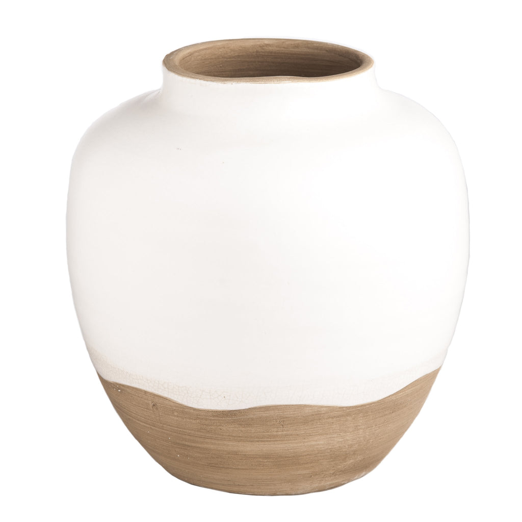 717818 Abigails Wholesale Home Décor Ceramics and Terra Cotta Vases Terra Cotta Vase Large with Matte White Glaze