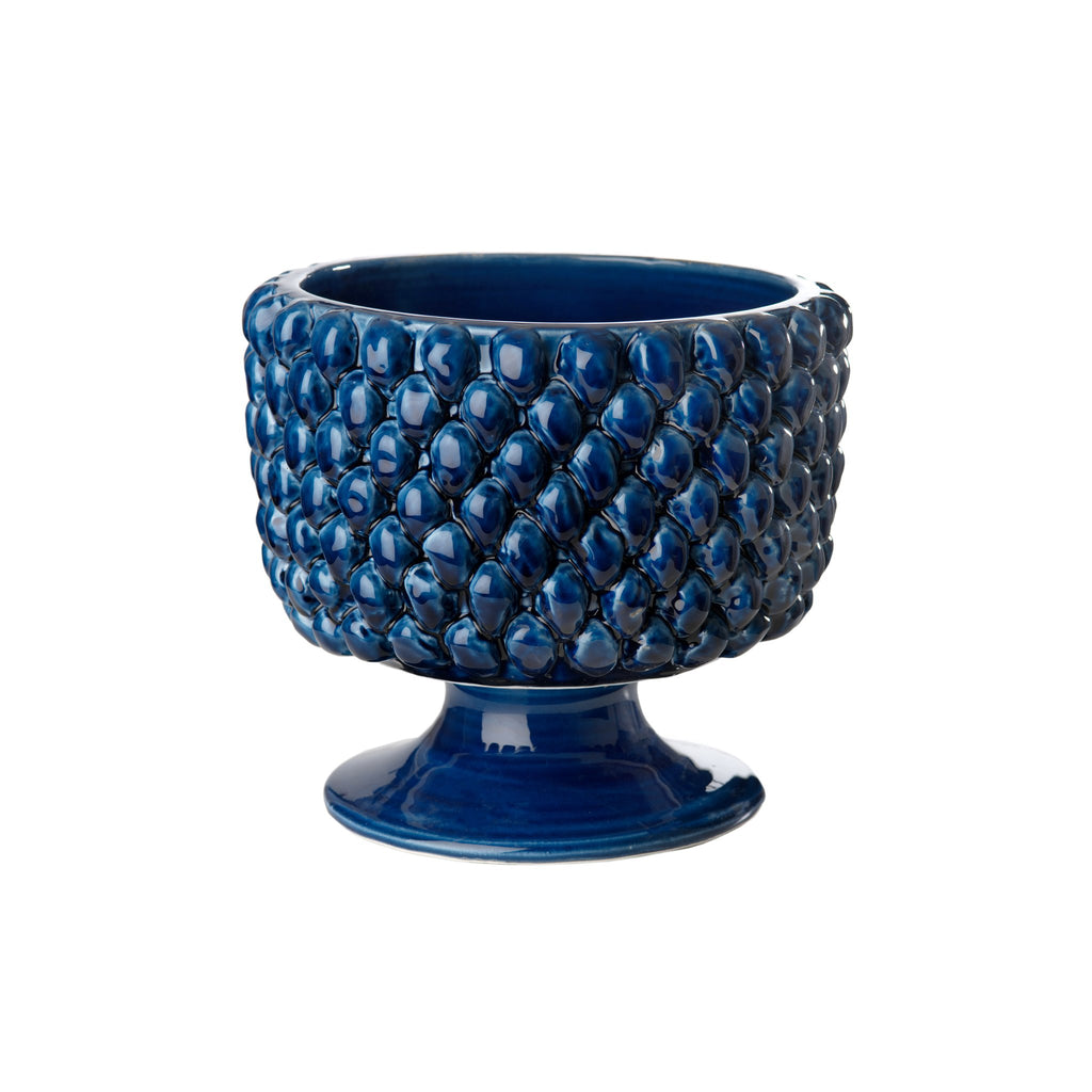 717821 Abigails Wholesale Home Décor Ceramics and Terra Cotta Planters Vinci Pine Cone Blue Ceramic Planter Small Vinci