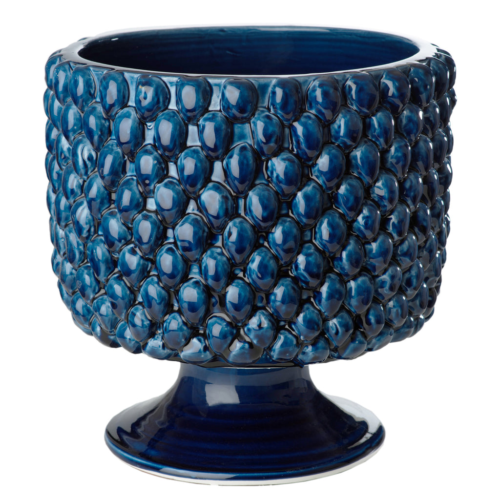 Vinci Pine Cone Blue Ceramic Planter, Large