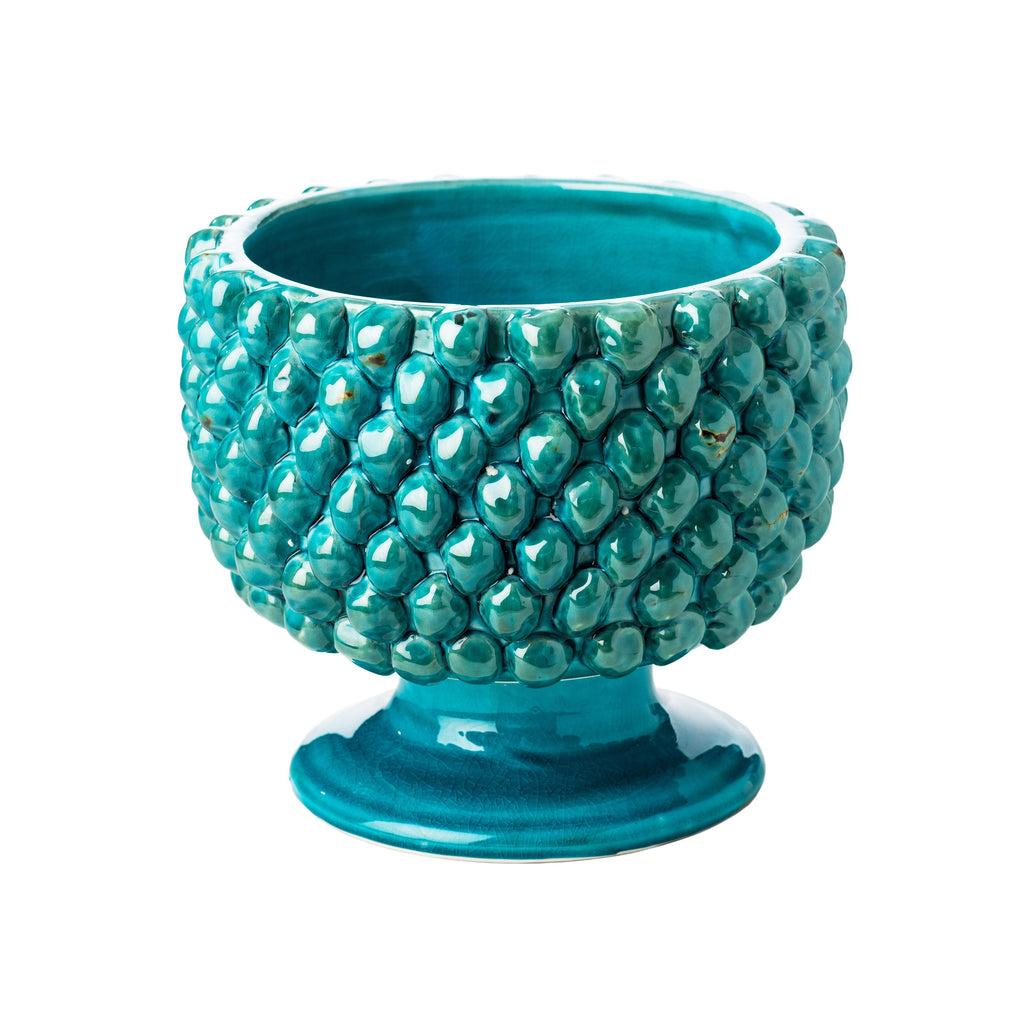 717826 Abigails Wholesale Home Décor Ceramics & Terra Cotta Planters Vinci Pine Cone Turquoise Ceramic Planter, Small Vinci