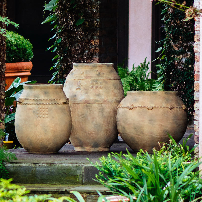 717833 Abigails Wholesale Outdoor Spaces    Tuscan Gold Ceramic Urn, Large Santa Fe