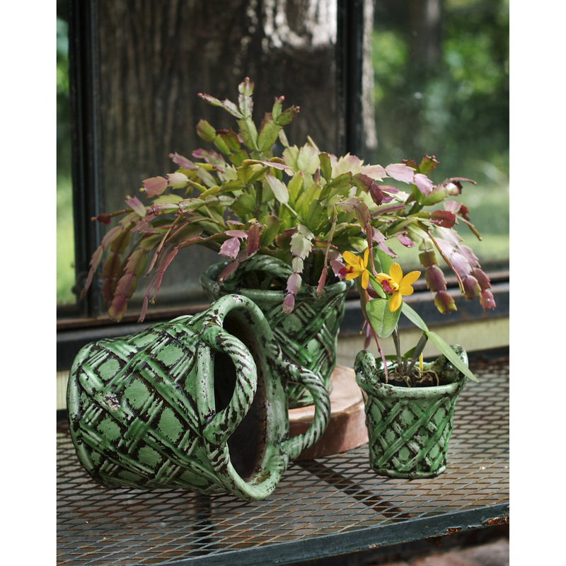 724510 Abigails Wholesale Home Décor Ceramics and Terra Cotta Planters Amalfi Planter Set Basket Design Green Amalfi