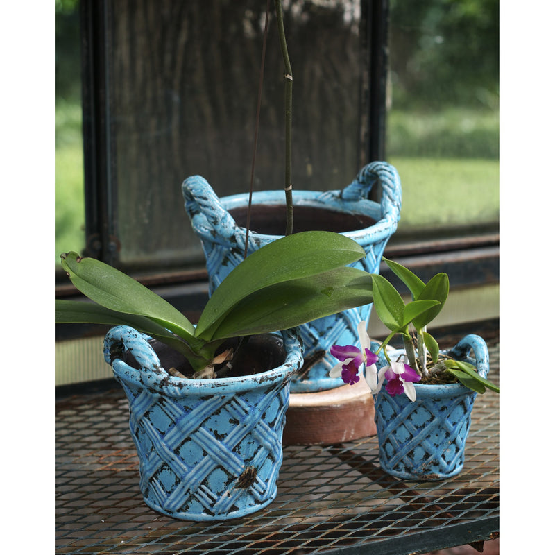 724511 Abigails Wholesale Home Décor Ceramics and Terra Cotta Planters Amalfi Planter Set Basket Design Turquoise Amalfi