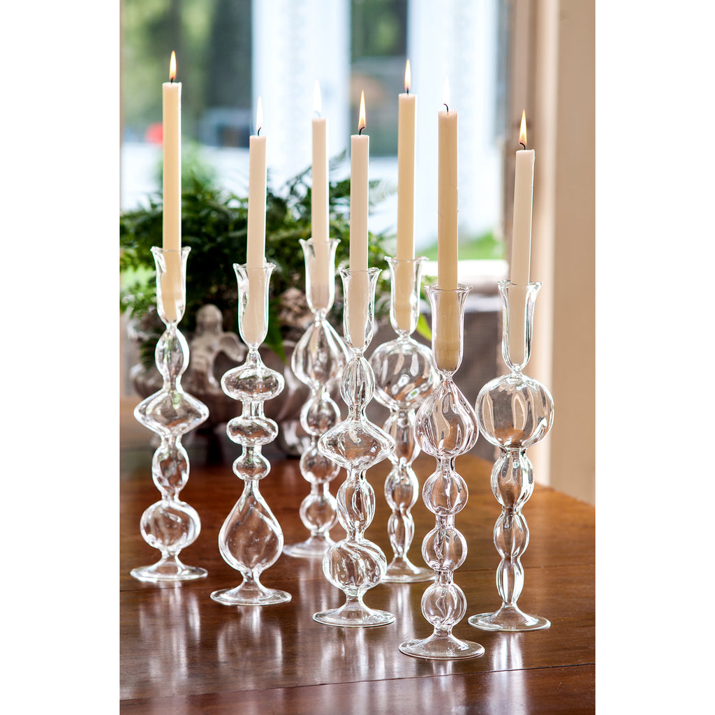 Clear Glass Candlestick with Large, Round Ball
