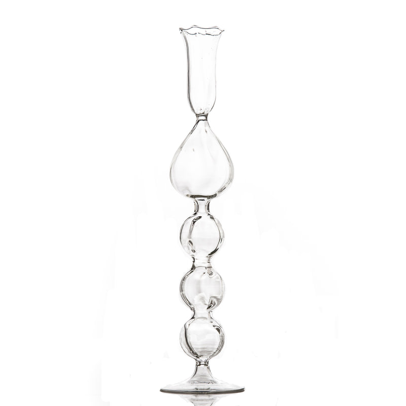 725101 Abigails Wholesale Home Décor Glassware Candlesticks and Votives Clear Glass Candlestick with Teardrop
