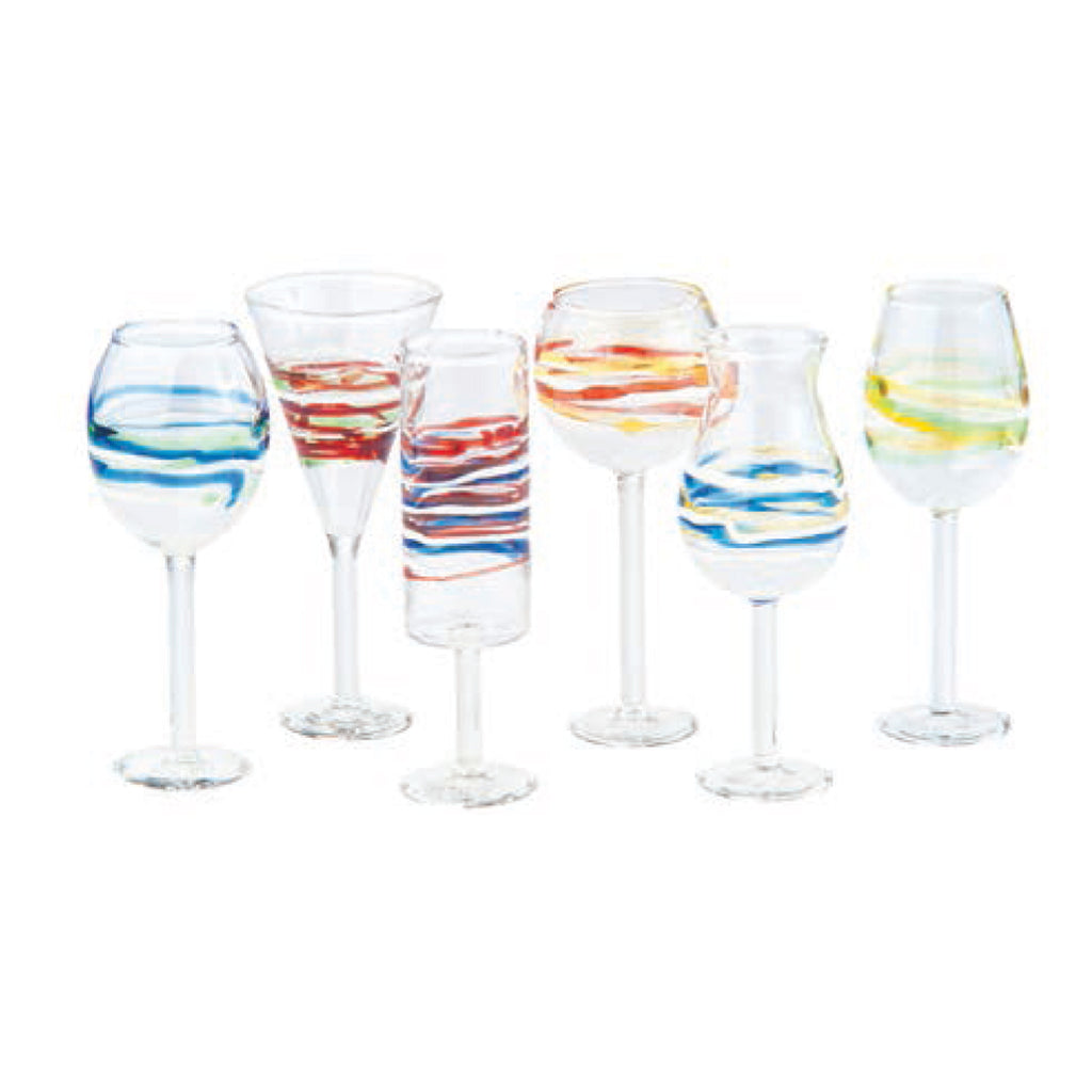 Isola Spiral Liqueur Glasses, Asst Set of 6
