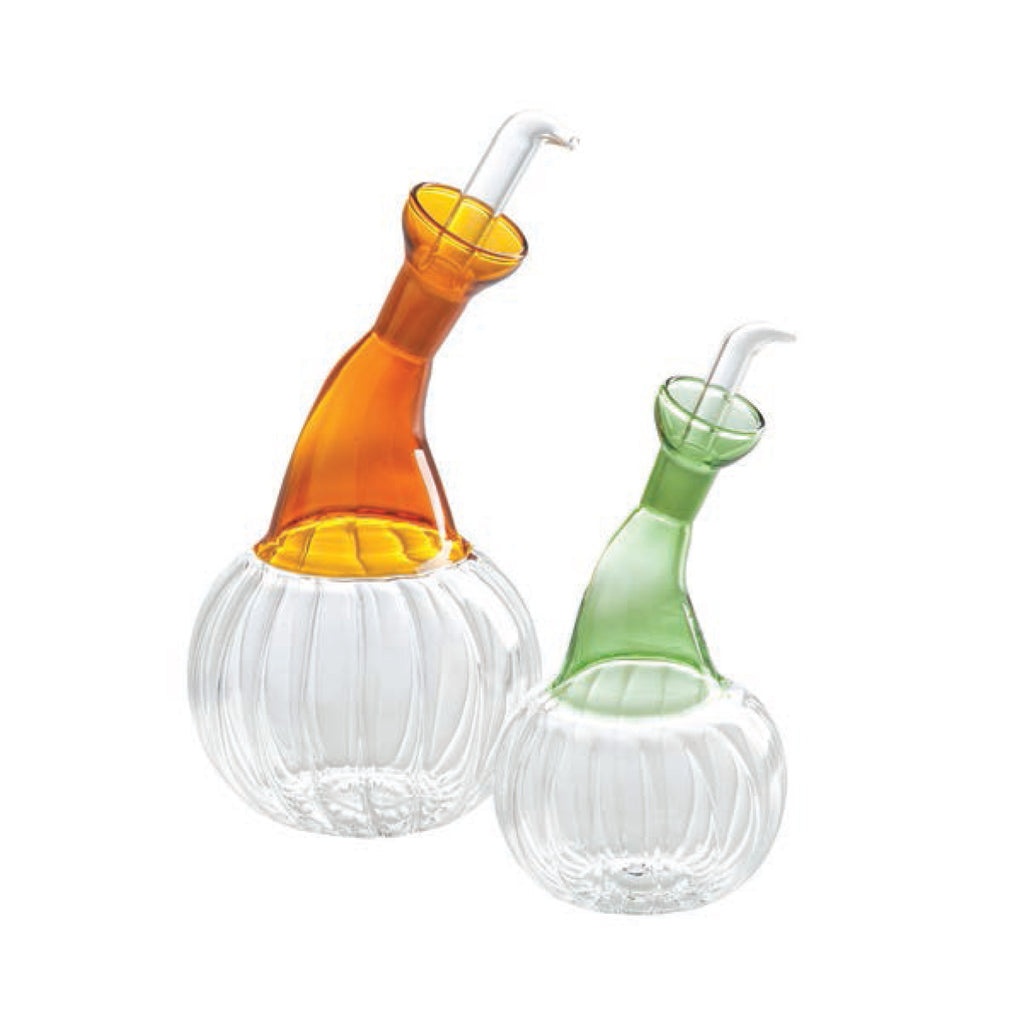 Isola Clear Glass Oil and Vinegar Set, Amber and Green