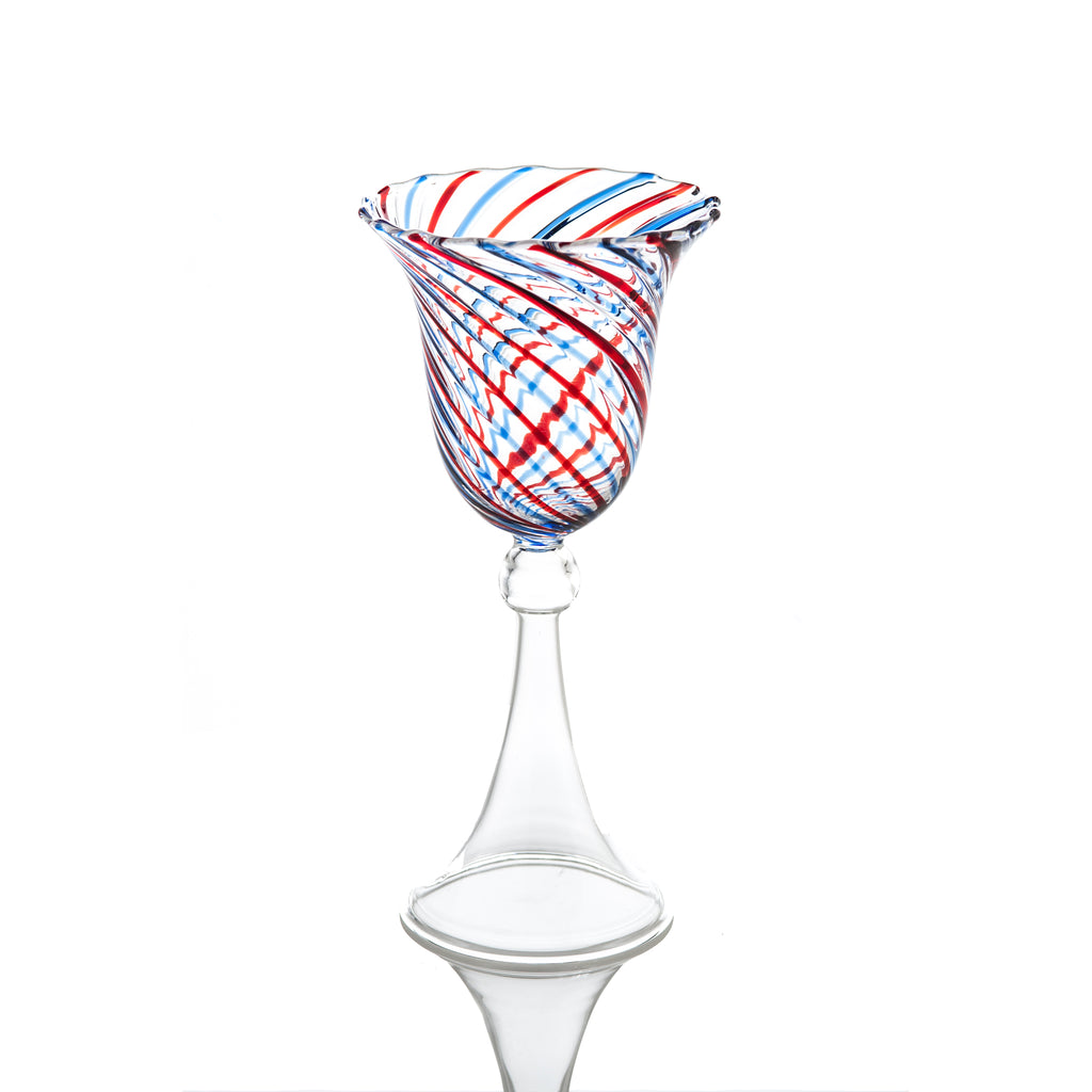 Red and Blue Swirl Wine, Set of 4