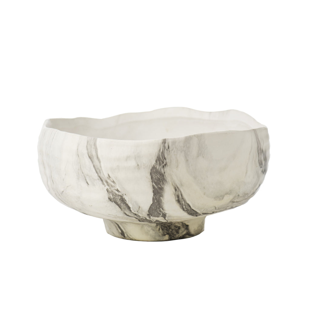 727508 Abigails Wholesale Home Décor Ceramics & Terra Cotta  Fumé Bowl Black/White Marbelized Fumé