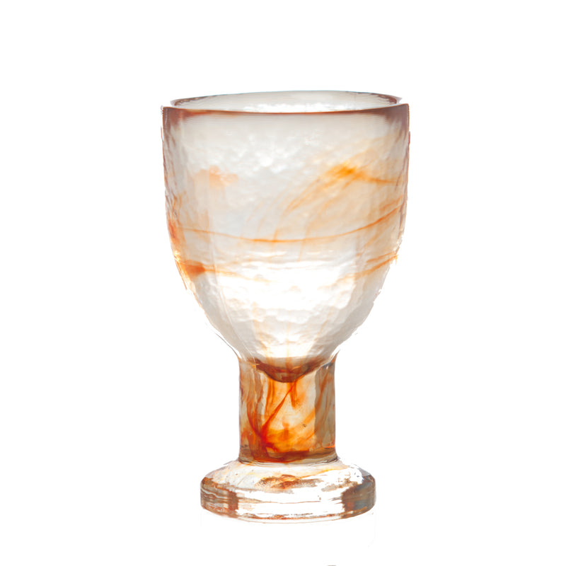 Stoneage White Wine Glass, Tangerine Alabaster Finish, Set of 4
