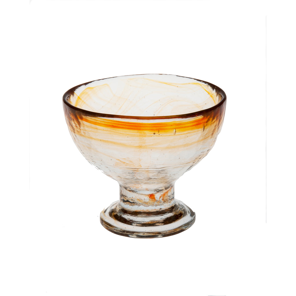 Stoneage Glass Dessert Cup, Tangerine Alabaster Finish, Set of 4