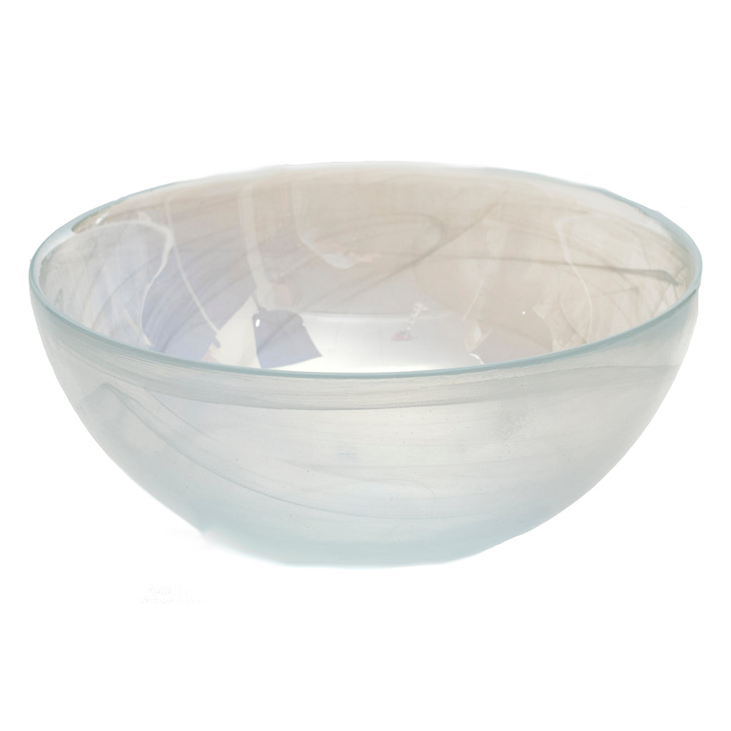 Stoneage Glass Bowl, White Pearl Alabaster Finish, Set of 4