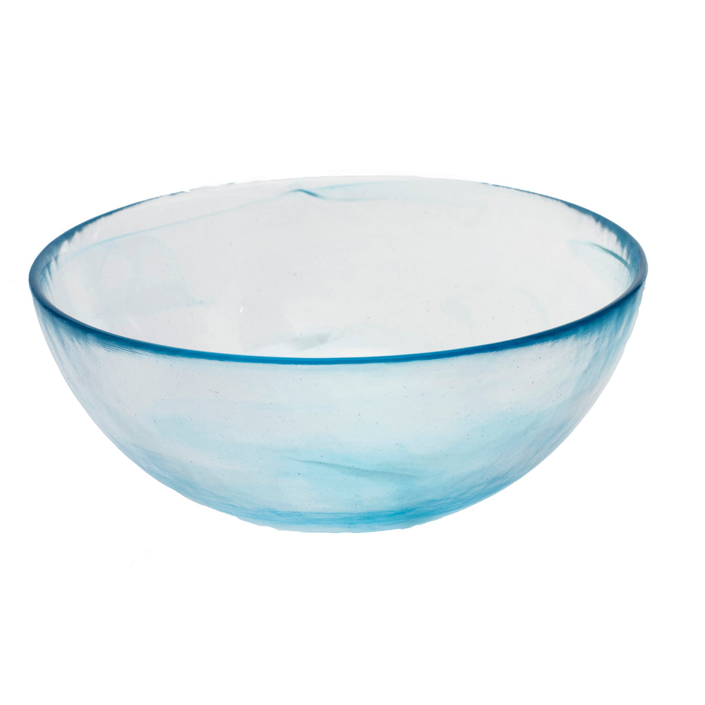 Stoneage Glass Bowl, Aqua Alabaster Finish, Set of 4