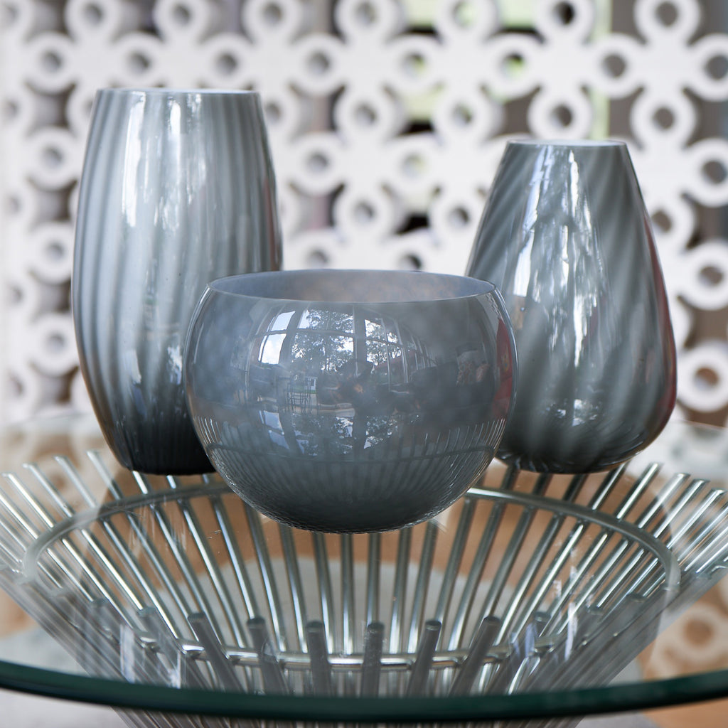Gray/White Glass Vase, Vertical Stripes