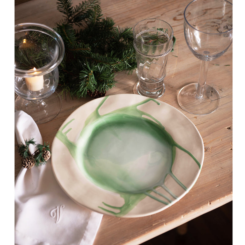 Splash, Ceramic DInner Plate Green and White, Set of 4