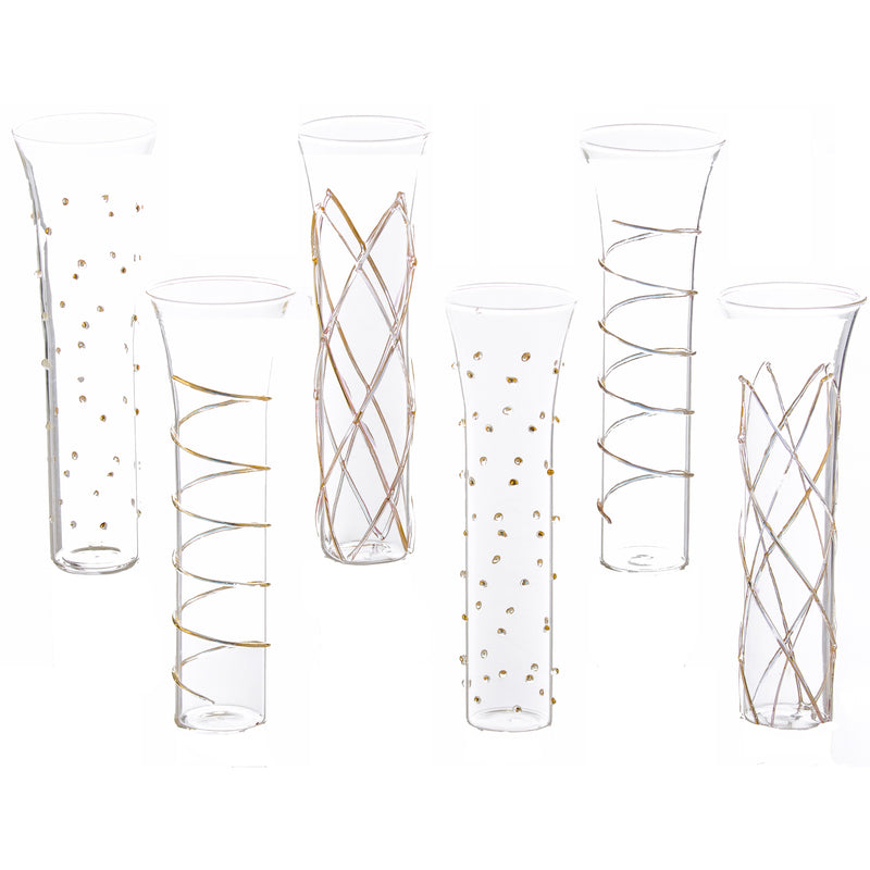 Clear Glass with Fleur de Lis Motif and Gold Trim, Set of 4