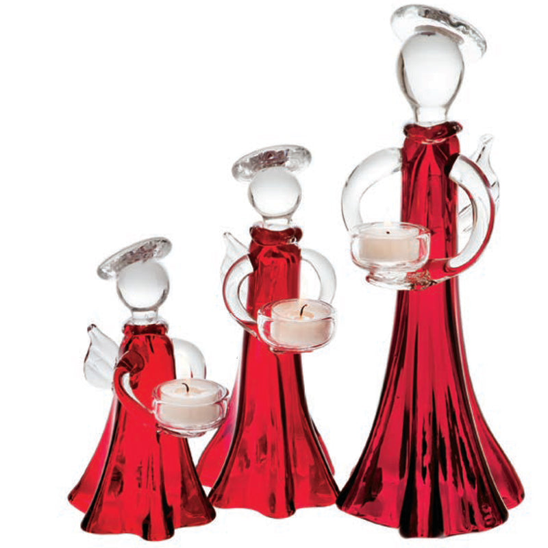 Angel Votive Holder, Red and Clear, Large
