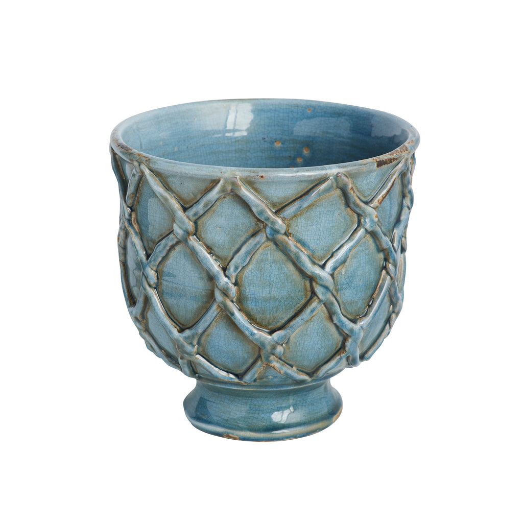 Vinci Criss Cross Planter, French Blue, Small
