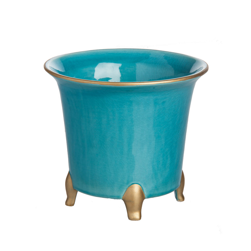 Cachepot, Turquoise with Gold, Small