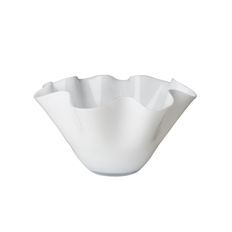 Small White Bowl with Wavy Top