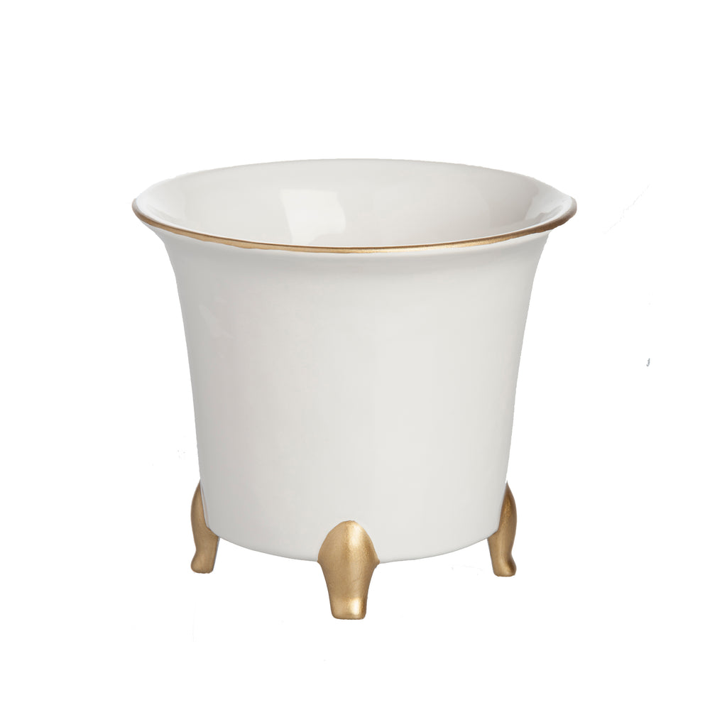 Cachepot, White and Gold, Small