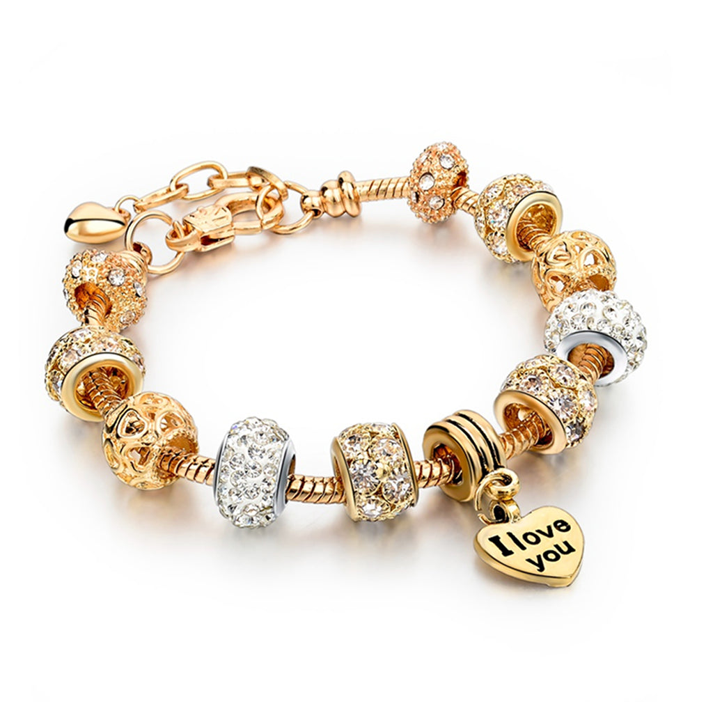 Bracciale: con Charm Love You Gold Silver