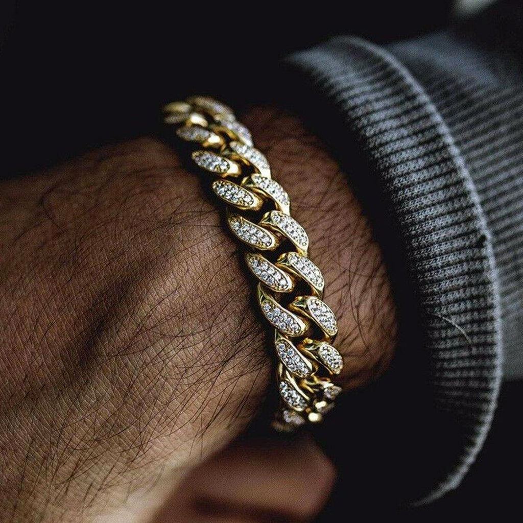 Bracciale Cuban Drop Gold Ice 18KT