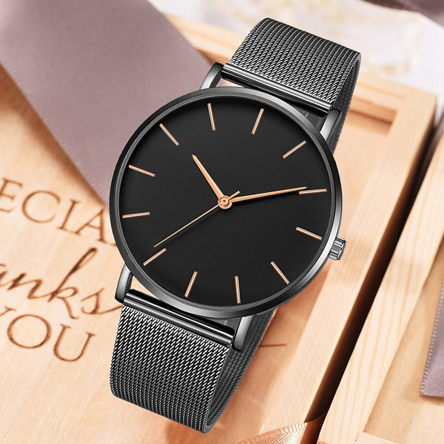 Minimal Slim: Orologio Unisex Black Rose Gold