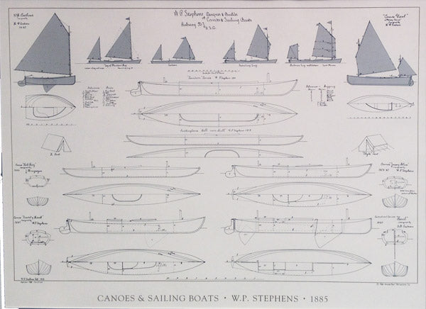 WP Stephens Canoes and Sailing Boats Poster