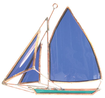 Friendship Sloop Stained Glass Boat