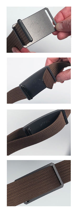 How to use: insert from back, run it through your belt loops, insert the end tab from the front, then bring the tab through (don't double-back).