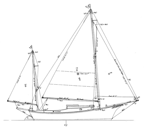 Crocker Yawl 20' SALLEE ROVER - STUDY PLANS-
