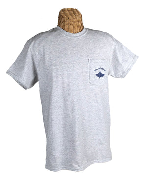 Heather Gray with Navy logo on pocket