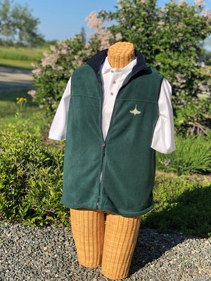 Green Fleece Vest, Navy trim and collar