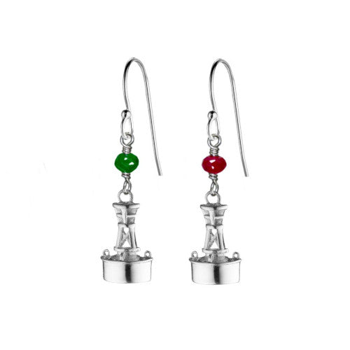 Ruby and Emerald Channel Marker Earrings