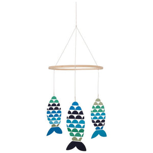 Three Fish Mobile hanging from wooden ring