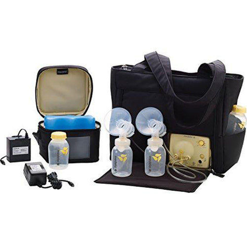 Electric Breast Pump for Double Pumping, 2-Phase Expression Technology, Sleek Microfiber Tote Bag