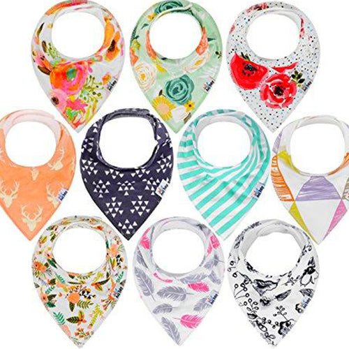 10-Pack Baby Bandana Drool Bibs for Teething, 100% Organic Cotton