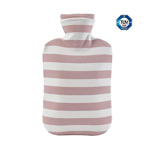 Khemn 2L 100% Explosion-Protection Odorless Hot Water Bottle with Organic-Cotton Cover, Great for Hot and Cold Therapy, German TÜV Certification (Pink)