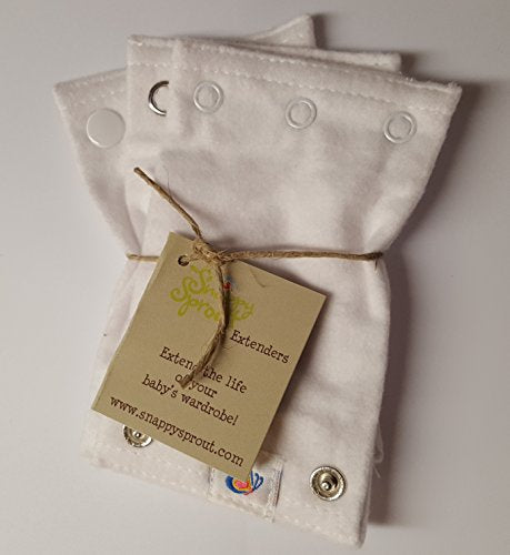 Bodysuit Extenders Pack of 3, White, 3 Different Size Snaps