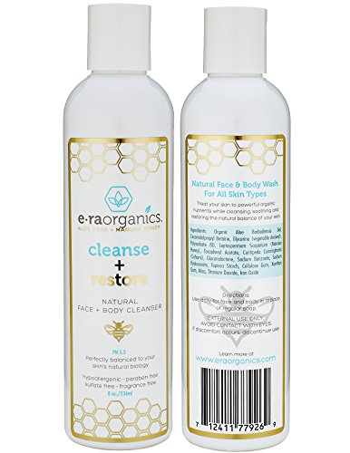 Natural Moisturizing Face Wash - Gentle Sulfate Free Facial Cleanser and Body Wash with Organic Aloe Vera & Manuka Honey for Dry, Oily, Damaged, Sensitive Skin. Ph Balanced, Non Toxic (8.0oz/236.6mL)