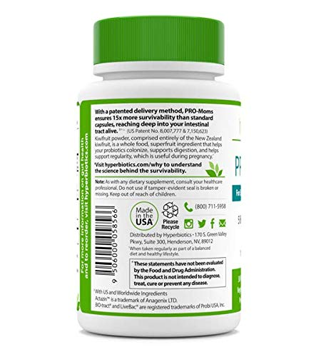 PRO-Moms: Prenatal Probiotics for Pregnant and Nursing Women - Recommended with Prenatal Vitamins - 6 Targeted Strains - 15x More Survivability - For Mom and Baby - Helps Produce Folate