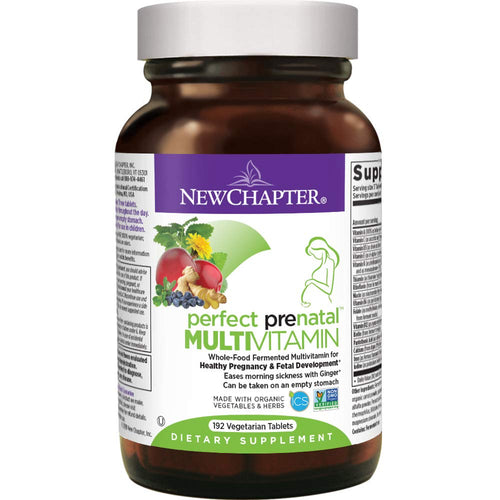New Chapter Perfect Prenatal Vitamins, 192 ct, Organic Non-GMO Ingredients - Eases Morning Sickness with Ginger, Best Prenatal Vitamins Fermented with Wholefoods for Mom & Baby