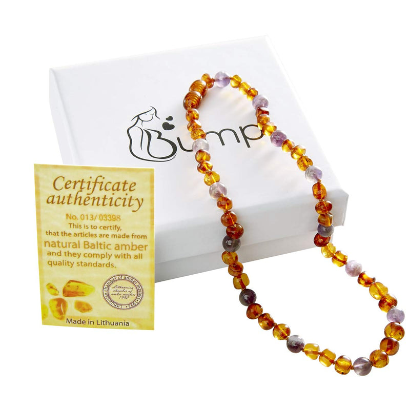 Amber and Amethyst Teething Necklace for Babies