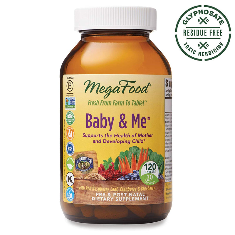 MegaFood, Baby & Me, Prenatal and Postnatal Multivitamin, Dietary Supplement with Folate, Vitamin D and Vitamin B6, Gluten-Free, Vegetarian, 120 Tablets (30 Servings)