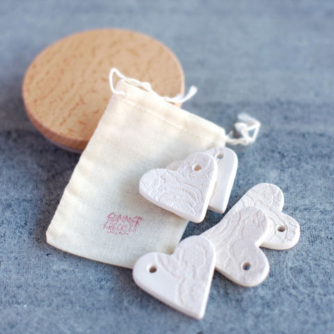 Pressed Lace Heart Gift Tags - White