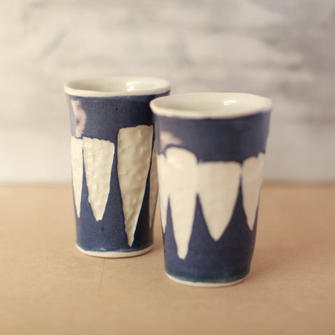Carved Cobalt Ceramic Tumbler